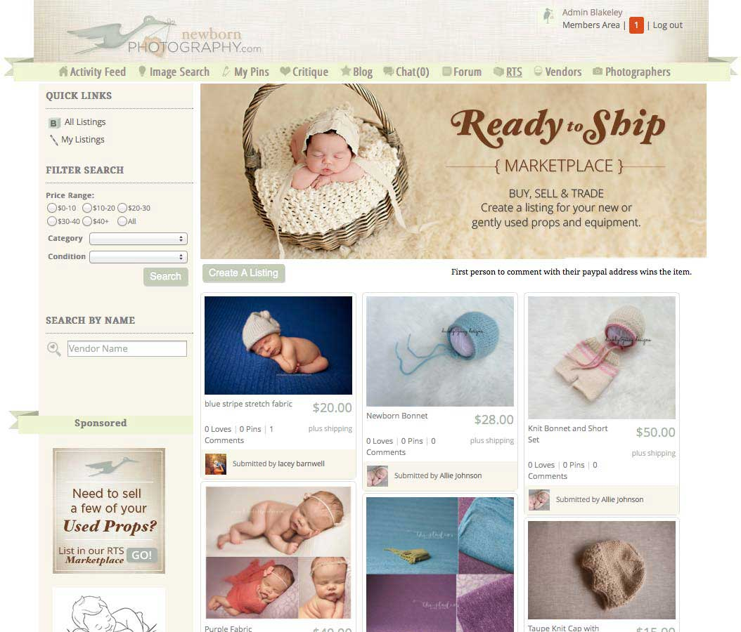 newborn photography RTS Marketplace